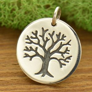 Sterling Silver Pendant with Etched Tree Large - C728, Tree of Life, Family, Ancestry, Children, Bonding