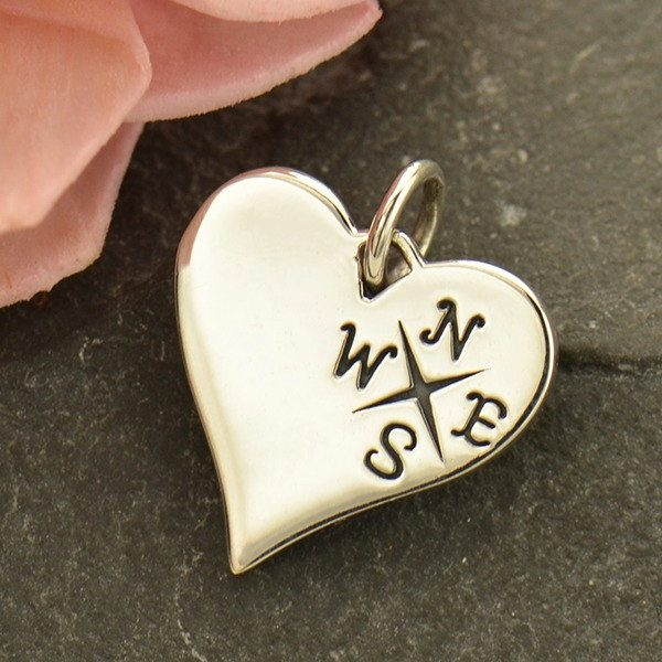 Compass Heart Charm - C1750, Sterling Silver, Love, Romance