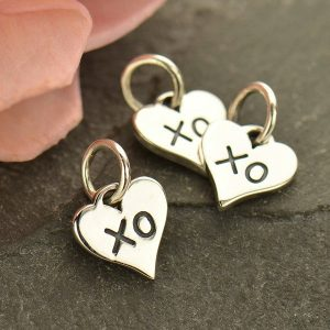 Small Heart Charm with XO Hug and Kiss - C1749, Sterling Silver, Love, Romance