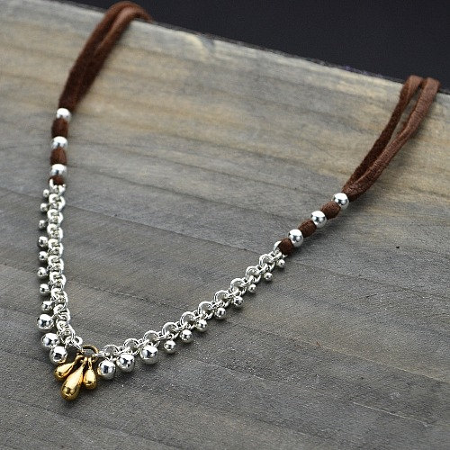 Tiny Dangle Beads - C2107,  Sterling Silver, Gold Plated