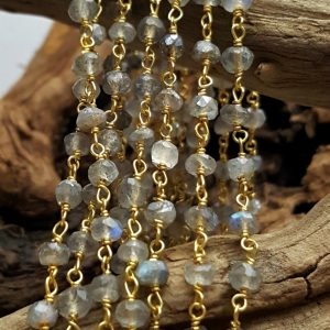 Ladradorite 3mm Gold Plated Hand Wrapped Chain, Sold by Ft.