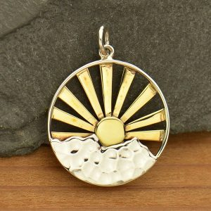 Mountain Range Pendant with Bronze Sun Rays - C3114, Hiking, Nature Charms, Celestial Charms