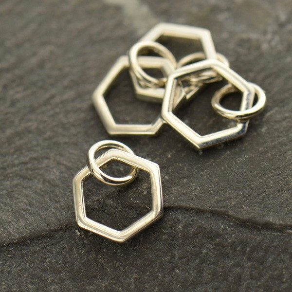 Small Single Honeycomb - C1344, Sterling Silver & Gold Plated, Bees, Insects, Honey