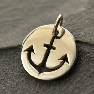 Cutout Anchor Disk Charm - C1230, Nautical, Ocean, Beach, Sea life, Faith, Spiritual