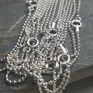 Sterling Silver 1.5mm Bead Ball Chain - BD15, Choose From 16, 18, 20, 24, 30 Inches
