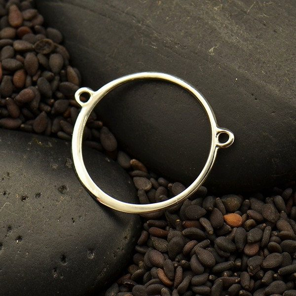 Circle Festoon With Two Fixed Rings - Sterling Silver  - S3102, Connector Links, Round Links, Jewelry Design