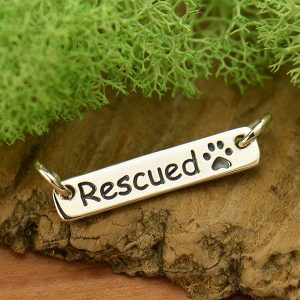 Rescued Quote with Paw Print Festoon - C1739, Pet Charms, Mans Best Friend