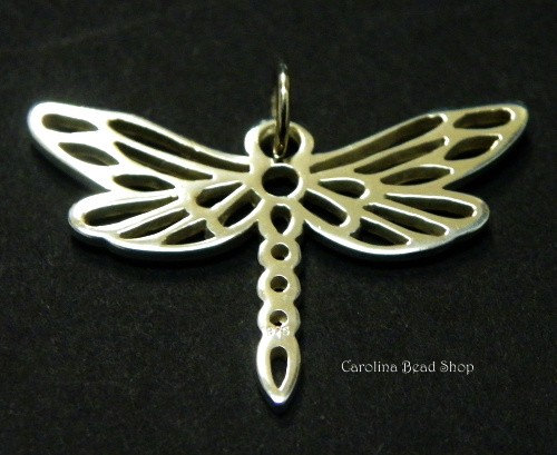 Dragonfly - Small Silver Plated Dragonfly Charm - CV567, Bugs, Insects