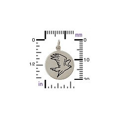 Falcon Spirit Animal Charm - C1590 - Sterling Silver, Oxidized Stamped Charm