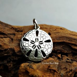 Sterling Silver Sand Dollar Pendant - Nautical Charms, Ocean, Sealife, SeaShells
