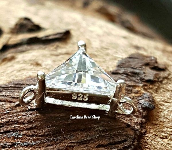 CZ Y-Link - 7mm Triangle Crystal Sterling Silver Y Links -  Links, Connector Charms