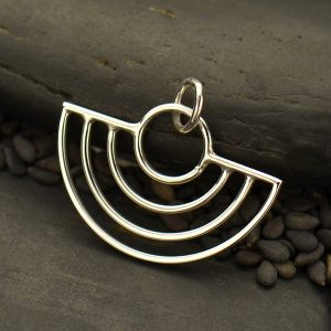 Art Deco Scallop Wire Charm - C3108, Findings, Earring Findings, Abstract Pendants