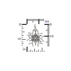 Snowflake Charm Sterling Silver - C3131, Winter, Snow, Icicles, Magical
