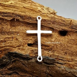 Sterling Silver Slim Cross Link - Sideways Cross Link, Connectors, Links