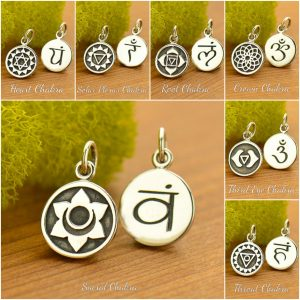 Chakra & Sanskrit Word Charms - Sterling Silver, Energy Points, Yoga Spirit Charms