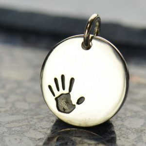 Sterling Silver Hand Print Charm - C859, Stamped Charms, Children, Grandchildren, Mom, Sibling