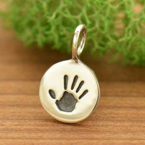 Small Sterling Silver Hand Print Charm - C852, Baby Charms, Family, Children, Stamped Charms