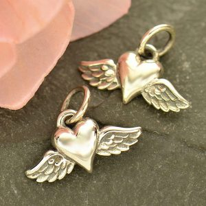 Mini Heart Charm with Wings - C1783, Wing & Heart Collection