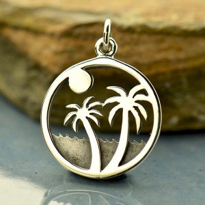 Palm Tree Charm on Island - C1789, Beach Charm, Sealife, Nautical