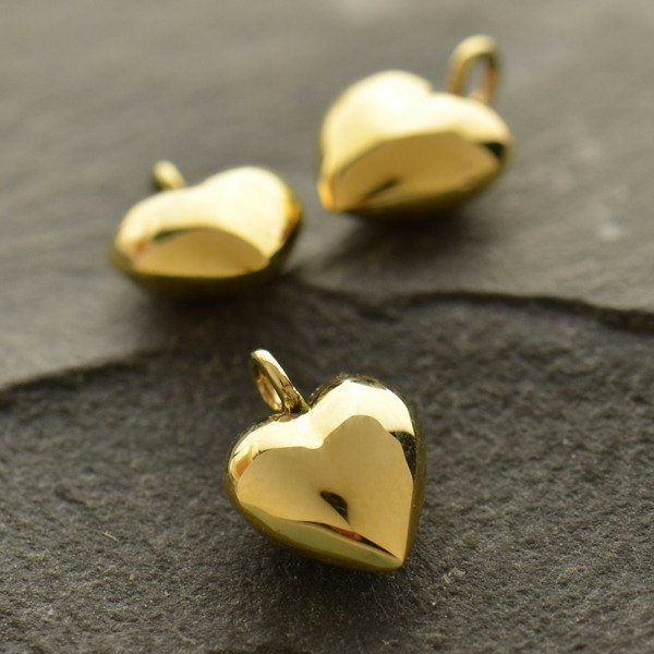 Puffed Heart Charms, Small & Tiny, Sterling Silver, Natural Bronze - C395