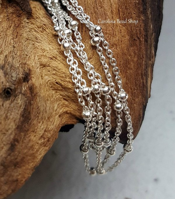 1.3mm Saturn Cable Chain Necklace with 4mm Beads, Sterling Silver,