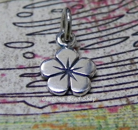Small Sterling Silver Flower Charm - C834, Woodlands, Plumeria, Hibiscus, Chamelia