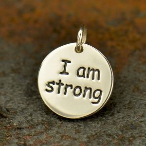 Sterling Silver Message Pendant - I am Strong, C1802, Stamped Charms