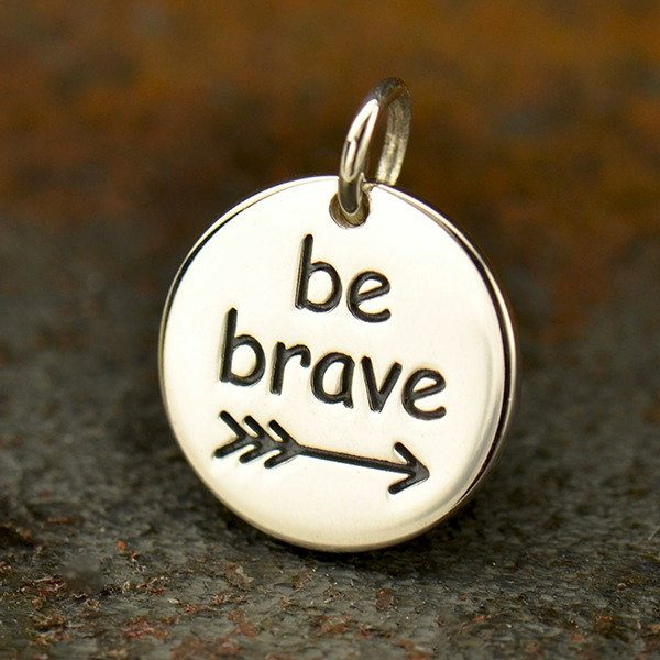 Sterling Silver Message Pendant - Be Brave  - C1798, Stamped Pendants, Word Pendants
