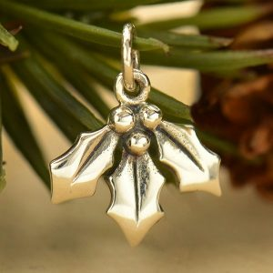 Holly Berry Charm -  C1813, Sterling Silver, Mistletoe Charm, Woodlands Collection