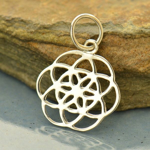 Seed of Life Charm - C409, Sterling Silver, Fruit of Life, Geometric Shapes, Flower of Life