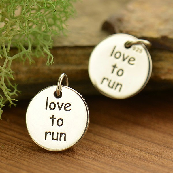 Love to Run Fitness Jewelry Charm - C1752, Sterling Silver, Stamped Charm, Words