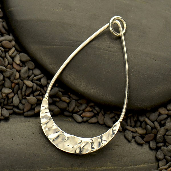 Teardrop Pendant with Hammer Texture Bottom Edge - C7011, Earring & Pendant Findings