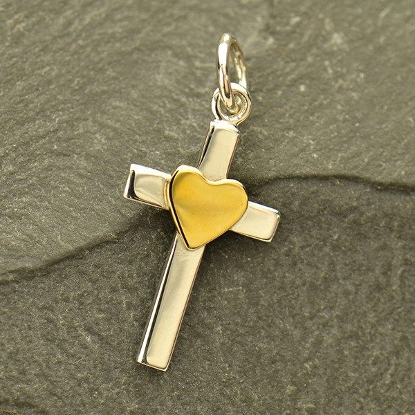 Sterling Silver Cross Charm with Bronze Heart - C3119, Christ, Faith, Love, Blessed