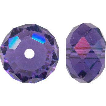 8mm Rondelle Faceted Purple Velvet Swarovski Crystal Beads - 10PK