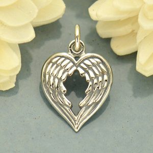 Double Wing Charm - C1763, Sterling Silver, Soar, Courage, Love, Compassion