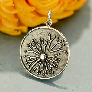 Granulation Dandelion Charm -  C3127, Sterling Silver, Gift for Mom, Sister