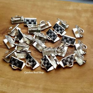10mm Silver Plated Ribbon Connector - 10 Pcs