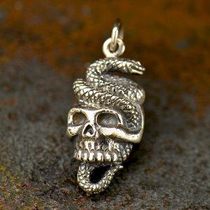 Snake and Skull Pendant  -  C1785, Sterling Silver, Bones, Skulls, Skeleton, Day of the Dead