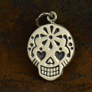 Sterling Silver Mexican Sugar Skull Charm -C1073,  Day of the Dead, Mexican Holiday, Bones