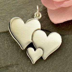 Three Heart Charm - Family Charms - C1792, Sterling Silver