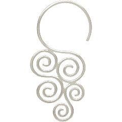 Sterling Silver Cascading Swirl Hook Earrings - C3045 - Findings, Hoop Style