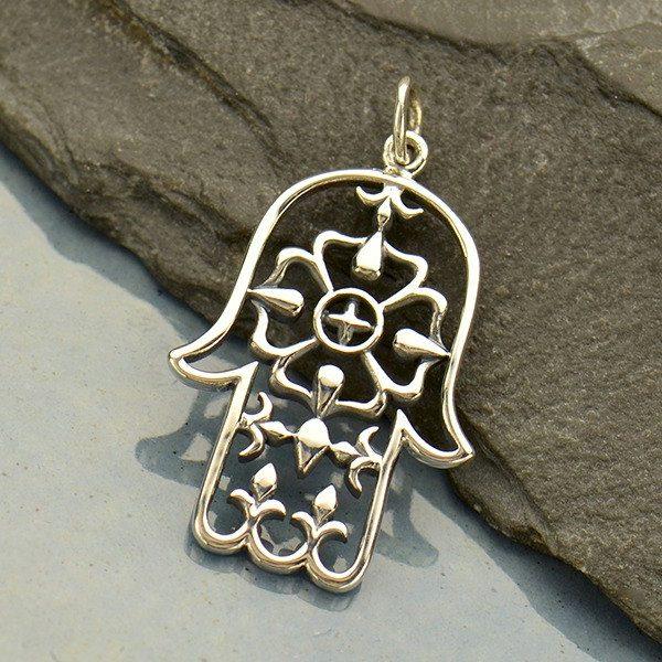 Sterling Silver Large Hamsa Hand Pendant - C1818, Hand of God, Hand of Fatima