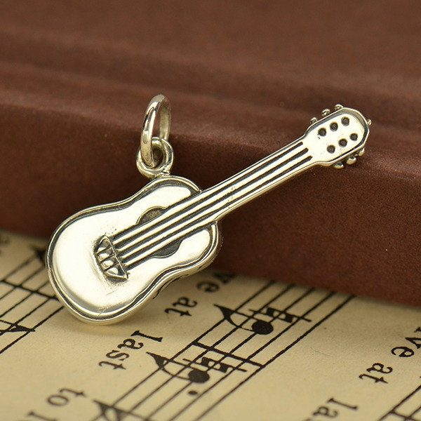 Sterling Silver Realistic Guitar Charm - C1611, Musical Charms