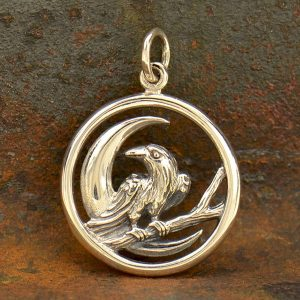 Sterling Silver Raven and Moon Charm - C1822,  Messenger of God, Baltimore Fans