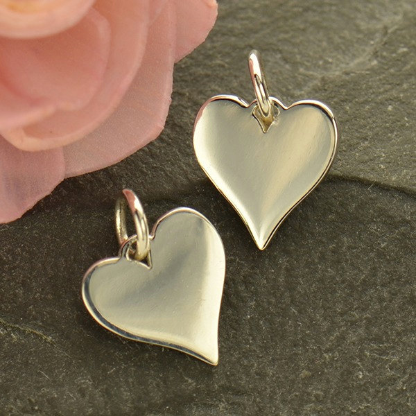 Sterling Silver Heart Charm - Stamping Blank - C1801, Sterling Silver, Love, Romance