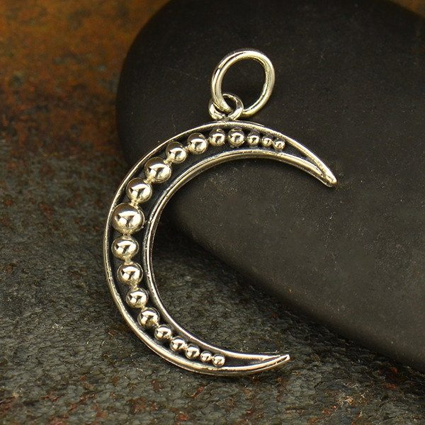 Crescent Moon with Granulation Charm - Sterling Silver  - C3140, Celestial Charms