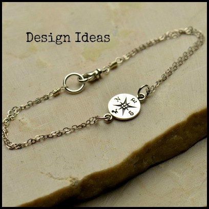 Compass Link - C1269,  Sterling Silver, Gold Plated, Bracelet Supplies, Nautical, Links, Connectors, Sideways Charms