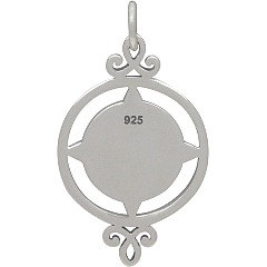 Compass Charm - Graduation Charms, Sterling Silver  - C1805,  Nautical & Sealife Charms, Wind, Charts, Maps