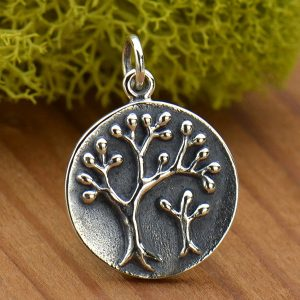 Sterling Silver Tree of Life Charm - Mama and Baby Trees - C1843