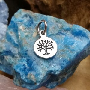 Etched Tree Charm = Tree of Life, Sterling Silver